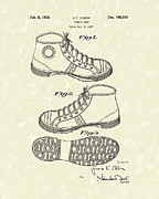 Sports Art Drawings Metal Prints - Tennis Shoe 1938 Patent Art Metal Print by Prior Art Design