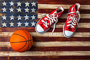 Round Framed Prints - Tennis shoes and basketball on flag Framed Print by Garry Gay