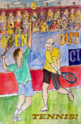Match Drawings - Tennis Strokes by Monica Engeler