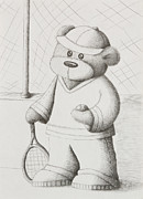 Racket Drawings - Tennis Teddy by Jeanette Kabat