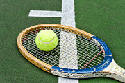 Tennis Court Framed Prints - Tennis - Wooden Tennis Racquet Framed Print by Paul Ward