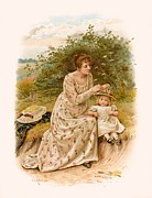 Little Girl Girl Prints - Tennyson s Dora Print by George Goodwin Kilburne