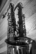 Saxes Posters - Tenor Saxophone Black and White Vertical Poster by Photographic Arts And Design Studio