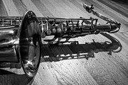Saxes Posters - Tenor Saxophone Horizontal Black and White Poster by Photographic Arts And Design Studio