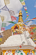 Mt Everest Base Camp Prints - Tenzing Norgay Memorial Stupa Nepal Print by Kristin Lau