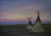 Eerie Painting Metal Prints - Tepees Metal Print by Lucy Deane