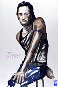 Black Top Painting Posters - Terence Poster by Sylvie Proidl