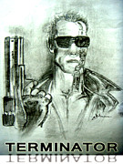Man Machine Drawings Prints - Terminator Print by Akhilesh Tripathi