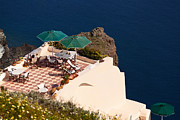 Veranda Framed Prints - Terrace on the cliff Framed Print by Aiolos Greece Collection