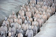 Xian Framed Prints - Terracotta Army. 221-206 Bc. China Framed Print by Everett