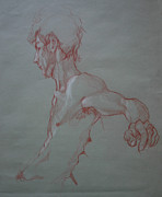Sepia Drawings Prints - Terracotta male study Print by Anne Jarvis
