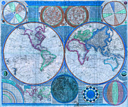 Map Of The World Mixed Media - Terraqueous Globe - Map of the World by EricaMaxine  Price