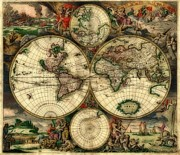 World Map Print Photo Metal Prints - Terrarum Orbis Old World Map  Metal Print by Inspired Nature Photography By Shelley Myke
