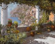 Seascape Painting Framed Prints - terrazza a Positano Framed Print by Guido Borelli