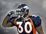 Denver Broncos Drawings Prints - Terrell Davis  Print by Don Medina