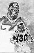 Pro Football Prints - Terrell Davis Print by Jonathan Tooley