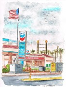 Colorado River Paintings - Terribles Chevron Gas Station in Laughlin - NV by Carlos G Groppa