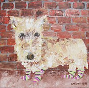 Scottish Terrier Paintings - Terrier in Socks by Claudia Michaels