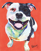 Staffordshire Framed Prints - Terrier Framed Print by Linda Halom