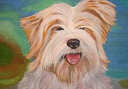 Owner Painting Framed Prints - Terrier Portrait Framed Print by Tracey Harrington-Simpson