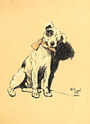 Dog Print Pastels Framed Prints - Terrier With Ribbon Bow Collar - A Dog Day Collection 2 of 27 Framed Print by Cecil Aldin