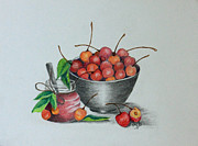 Mills Drawings - Terris Cherries by Terri Mills