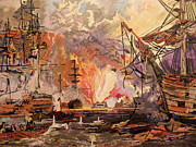 Boats In Water Paintings - Terror On The High Seas by Joe McClellan