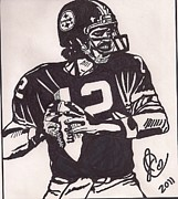 Pittsburgh Steelers Drawings Posters - Terry Bradshaw Poster by Jeremiah Colley