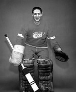 Red Wings Framed Prints - Terry Sawchuk Portrait Poster Framed Print by Sanely Great
