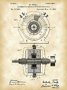 Watt Posters - Tesla Alternating Electric Current Generator Patent Poster by Stephen Younts