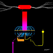 Renewable Energy Digital Art - Tesla Coil v115 by Brian Yetzer