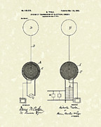 System Drawings Framed Prints - Tesla Electrical System 1900 Patent Art Framed Print by Prior Art Design