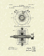 Artwork Drawings Posters - Tesla Generator 1891 Patent Art Poster by Prior Art Design