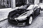 Electric Car Framed Prints - Tesla Model S Framed Print by Olivier Le Queinec