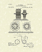 Patent Artwork Drawings Metal Prints - Tesla Motor 1891 Patent Art Metal Print by Prior Art Design