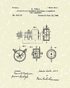 Patent Art Drawings Prints - Tesla Radio Transmitter 1896 Patent Art Print by Prior Art Design
