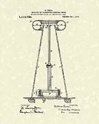 Device Drawings Framed Prints - Tesla Transmitter 1914 Patent Art Framed Print by Prior Art Design