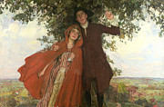 Hiding Metal Prints - Tess of the DUrbervilles or The Elopement Metal Print by William Hatherell