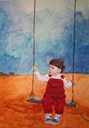 Child Swinging Pastels - Tethered to Grandpa by Linda Eversole