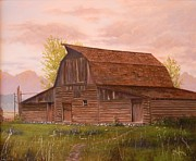 Teton Paintings - Teton Barn by Paul K Hill