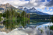 Nez Perce Prints - Teton Mountains Reflected in Taggart Lake Print by Gary Whitton