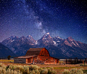 White Barn Prints - Teton Nights Print by Darren  White