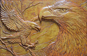 Bald Eagles Reliefs - Teton Pair by Jeremiah Welsh