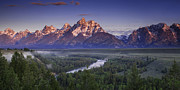 River. Clouds Posters - Teton Panorama Poster by Andrew Soundarajan