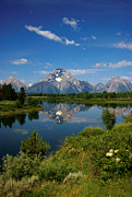 Blue Trees Prints - Teton Reflection Print by Jerry McElroy