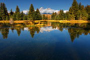 Fir Trees Prints - Teton Reflections Print by Reflective Moments  Photography and Digital Art Images