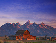 Fences Prints - Teton Sunrise Print by Darren  White