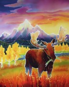 Moose Art Framed Prints - Teton Sunrise Framed Print by Harriet Peck Taylor