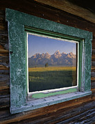 Cabin Window Framed Prints - Teton Window Reflection Framed Print by Mike Norton