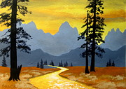 Serenity Scenes Paintings - Tetons Fantasy by Shasta Eone